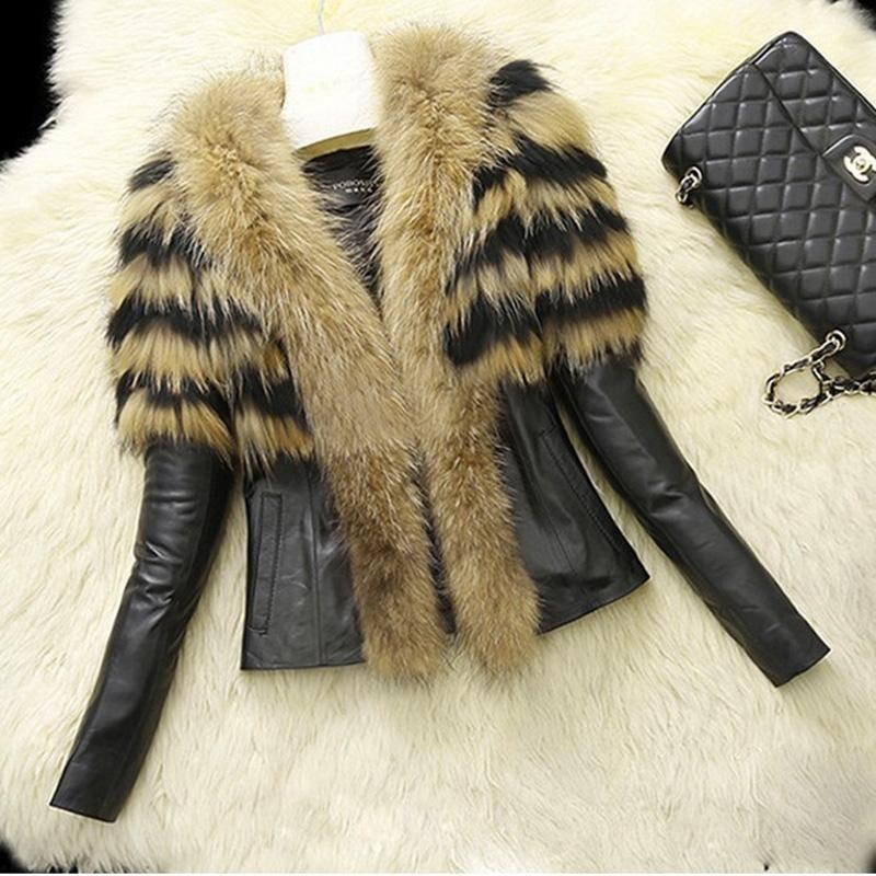 A Chicloth Winter Style Faux Fur Lapel PU Short Women's