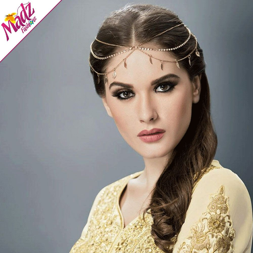 Sofia Gold Hair Tikka Headpiece Matha Patti Crystal rhinestone