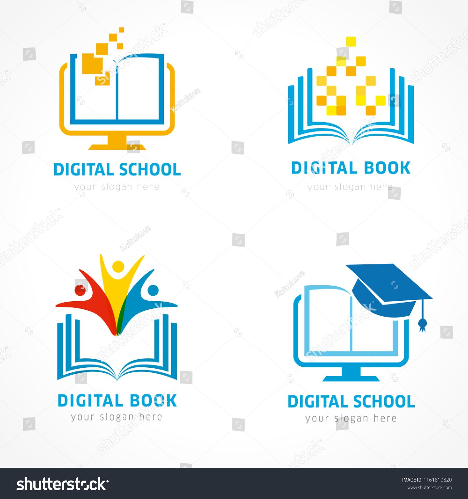 Set Of Online Education Logo Template Online Learning Pixel Open Book Communication People Digital Education L Learning Logo Education Logo Online Learning