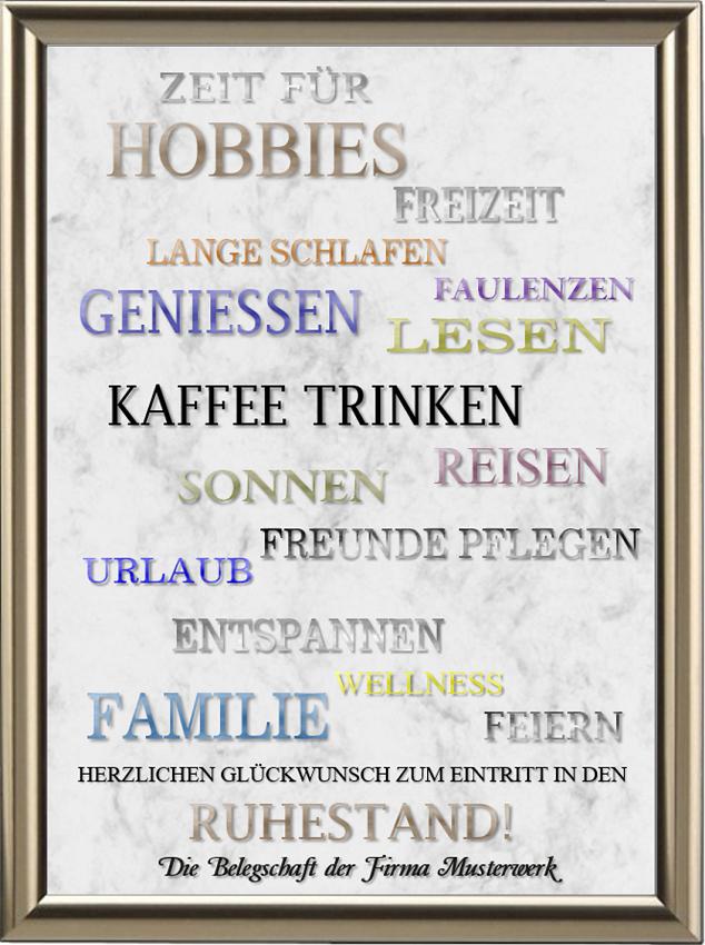 Rentnerurkunde - Zeit für | Wünsche zum ruhestand