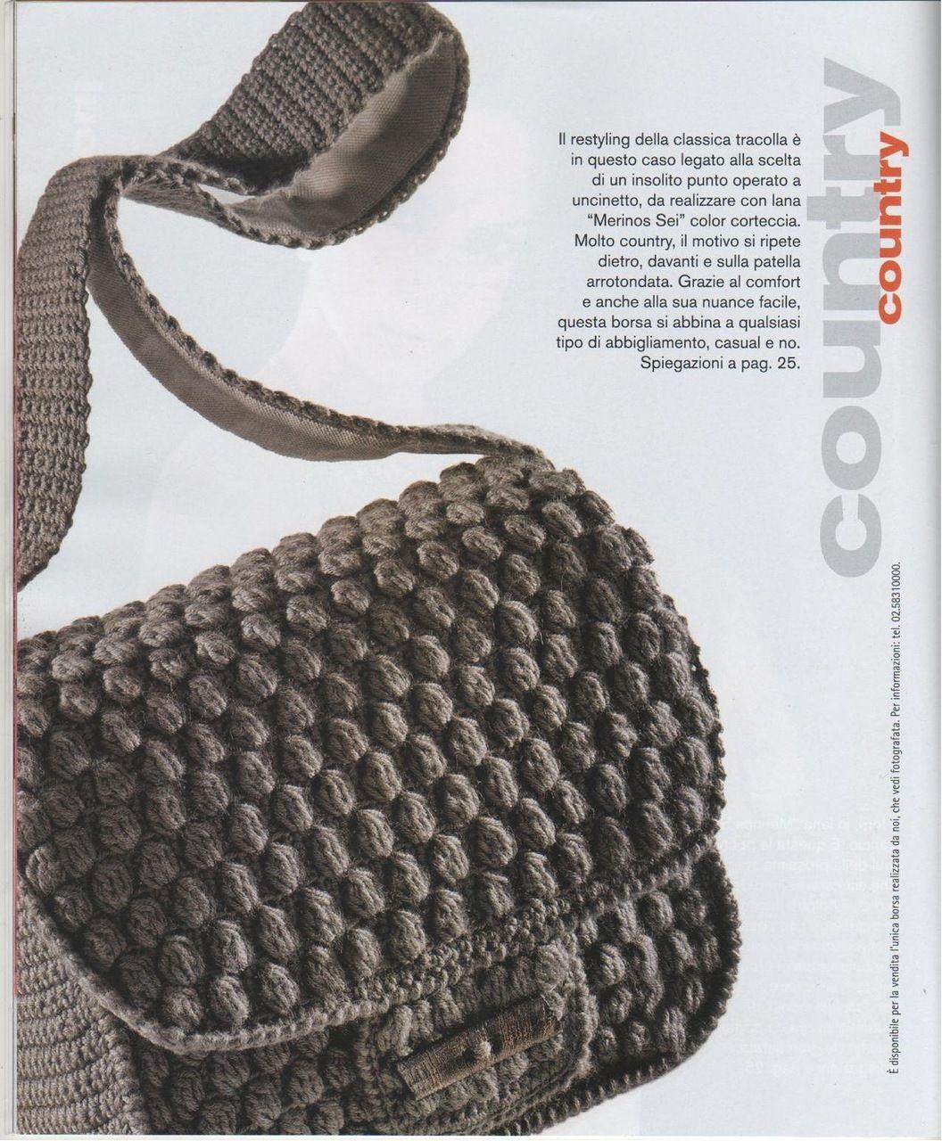 Crochet Bag. Cluster stitch.   bolsos   Pinterest
