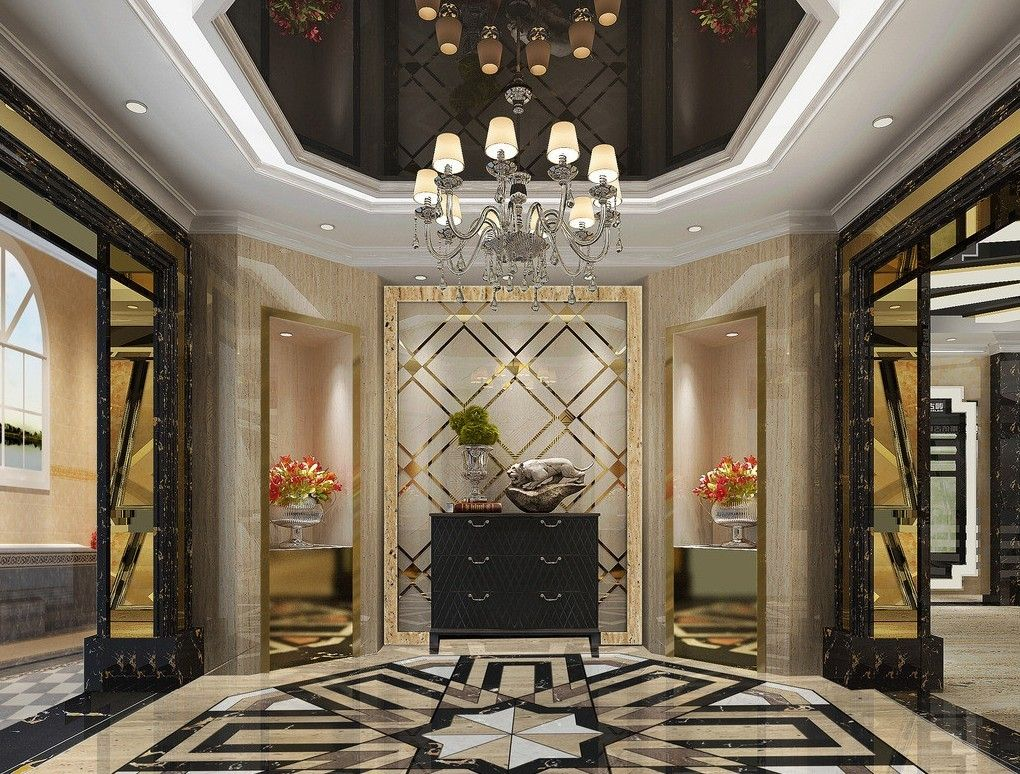 Hotel lobby lighting marble ceramic 3D design | Hotel project ...