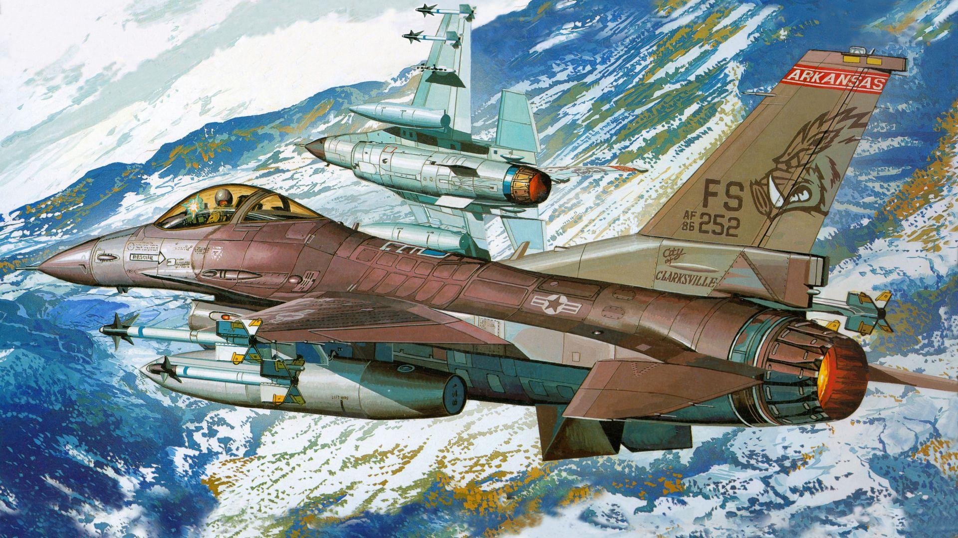 Обои Самолёт, F16. Авиация foto 10