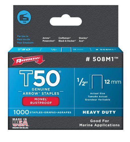 1,000-Pack Arrow Fastener 506M1 Genuine T50 Monel Rustproof 3//8-Inch Staples