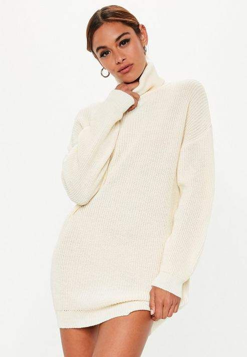 9f0da340709 Missguided White Turtle Neck Knit Sweater Dress in 2019