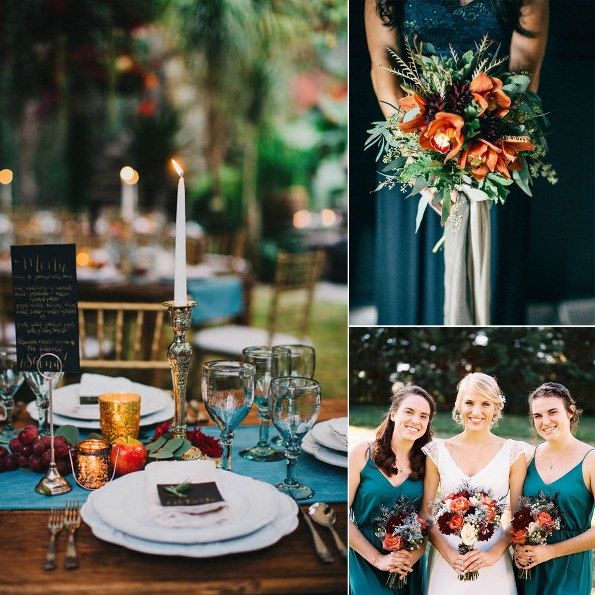 Fall Wedding Color Ideas: Romantic Teal Blue And Orange Color Inspiration