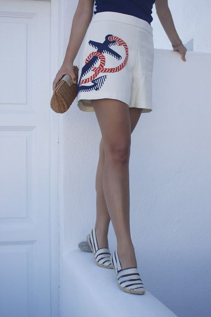 BORN AND BREAD: Sailing in Santorini {Outfit Post} #nautical #shorts #ralphlauren