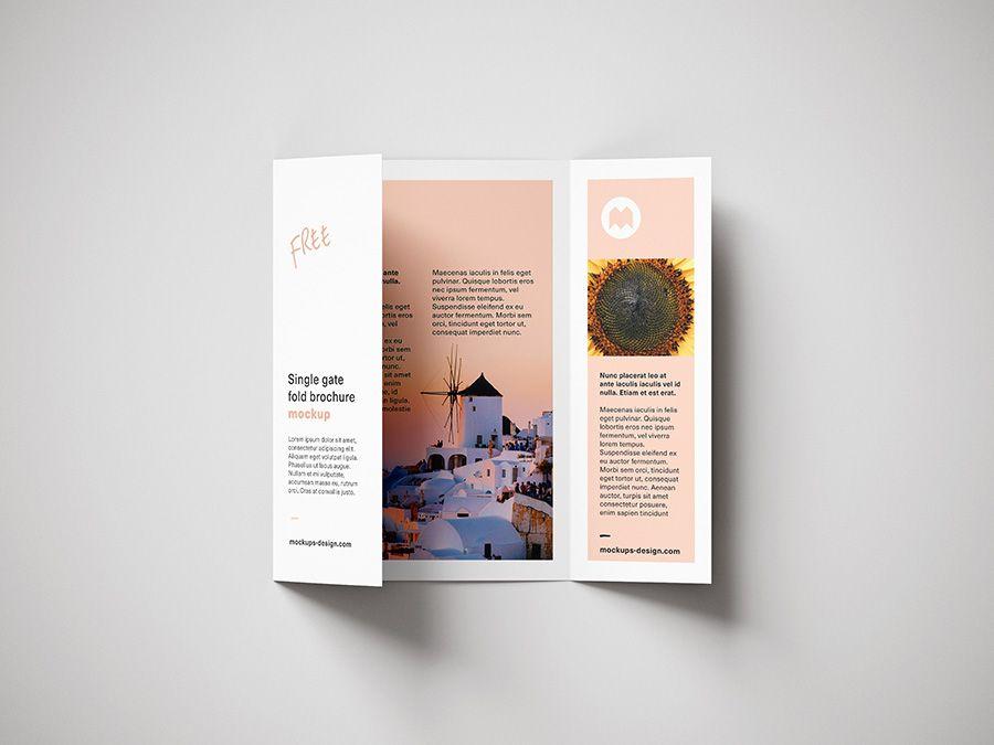 Free Single Gate Fold Brochure Mockup Mockups Design Free Premium Mockups Pamphlet Design Brochure Free Brochure Template