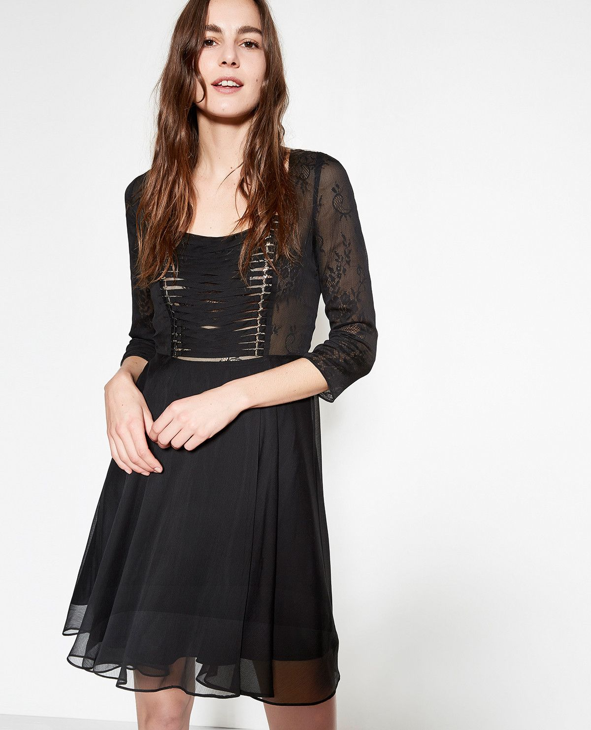 750ca2d384a Black muslin dress with laced plastron and lace - The Kooples ...