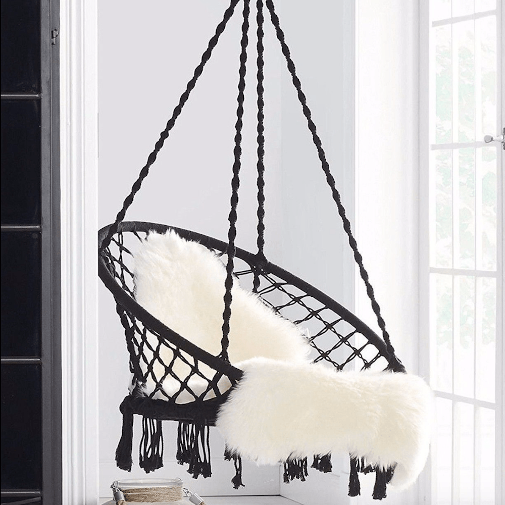 Black macrame hammock chair swing madrid ivory u deene home