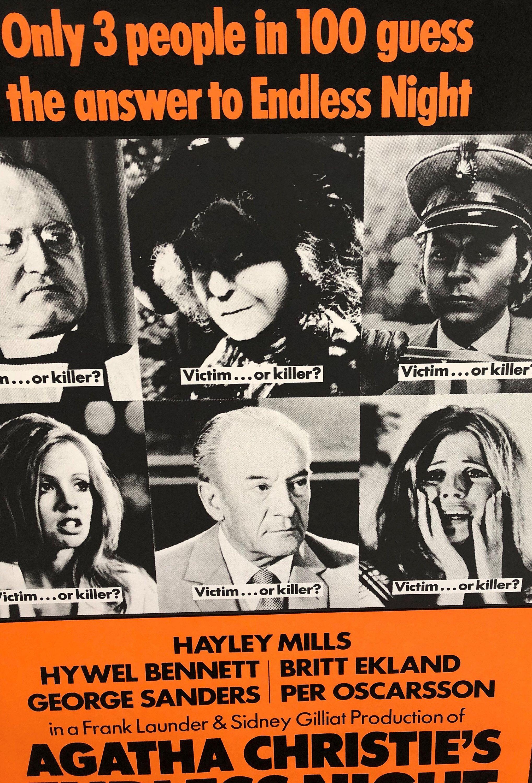 Agatha Christie S Endless Night 1972 Vintage Original Poster