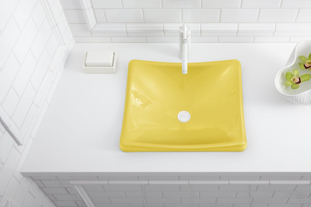Part of the new collection of kohler colors featuring jonathan adler this piccadilly yellow - Jonathan adler sink ...