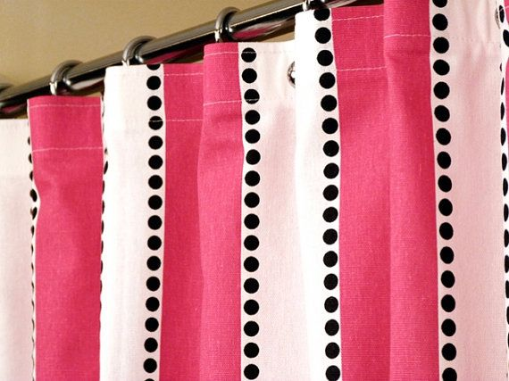 Pink Shower Curtain With Candy Pink & White Stripes by LaRicaHome ...