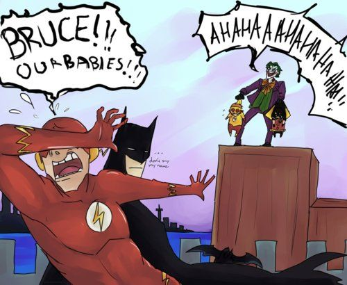 """It's cute how the babies match their """"fathers"""" Robin is as cool as Batman, while Kid Flash and Flash are hysterical. Description from pinterest.com. I searched for this on bing.com/images"""