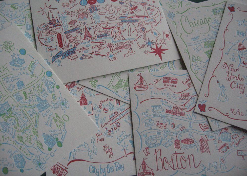 Customizable City Map, Postcards Gooseberry Press.