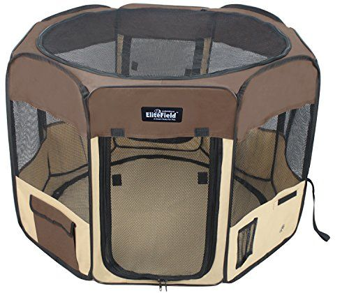 EliteField 2Door Soft Pet Playpen Exercise Pen Multiple Sizes and Colors Available for Dogs Cats and Other Pets 42 x 42 x 24H BrownBeige ** Be sure to check out this awesome product. (Note:Amazon affiliate link) #DogApparelAccessories