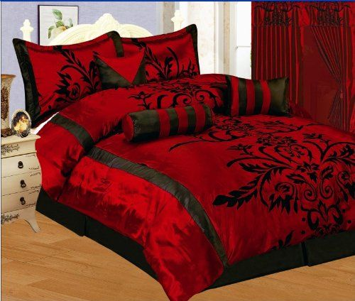 7 Pc Modern Black Burgundy Red Flock Satin Comforter Set Bed In A Bag