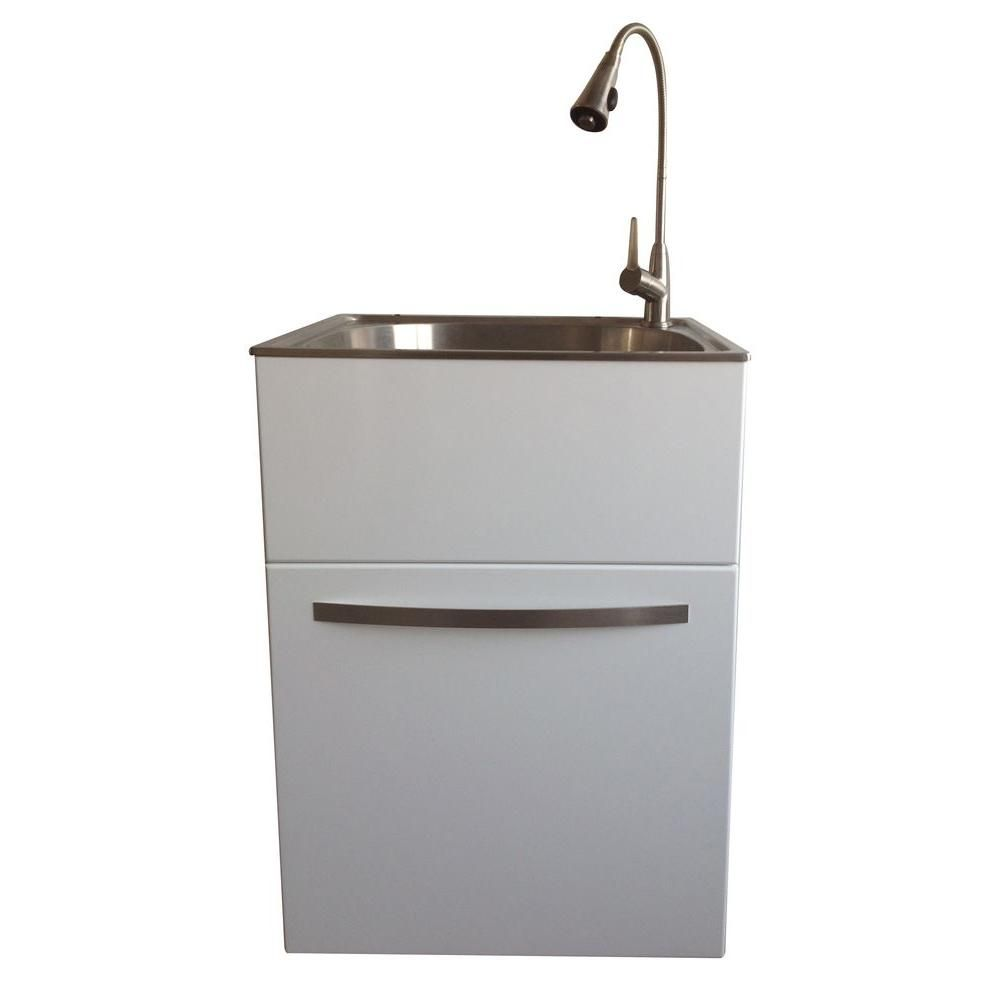 Presenza All In One 24 2 In X 21 3 In X 33 8 In Stainless Steel Utility Sink And Large White Drawer Cabinet Ql040 In 2020 Stainless Steel Utility Sink Utility Sink Sink