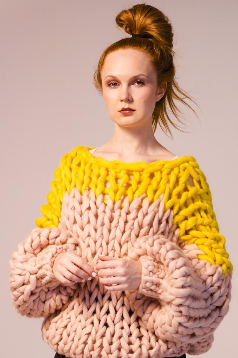 Chunky knit sweater. Big yarn sweater. Chunky knitting. Giant knitting oversize pullover. Her extreme cable knit jumper. Bulky wool knitwear