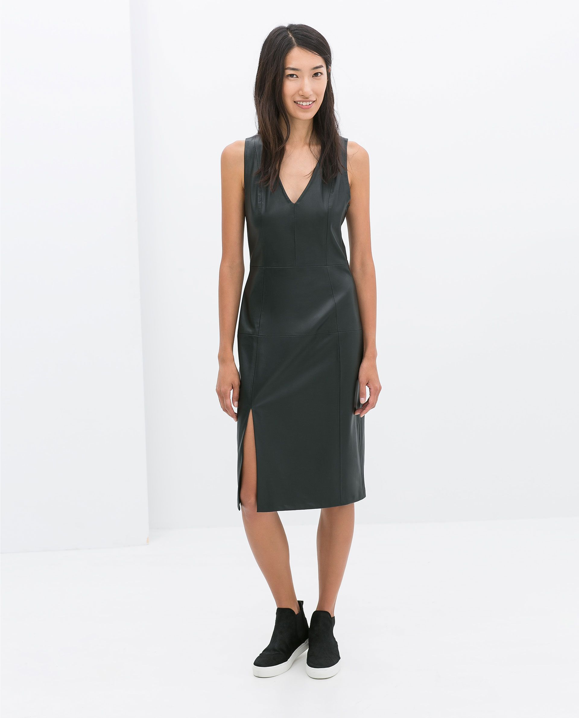 Zara Green Faux Leather Dress Lyst Faux leather