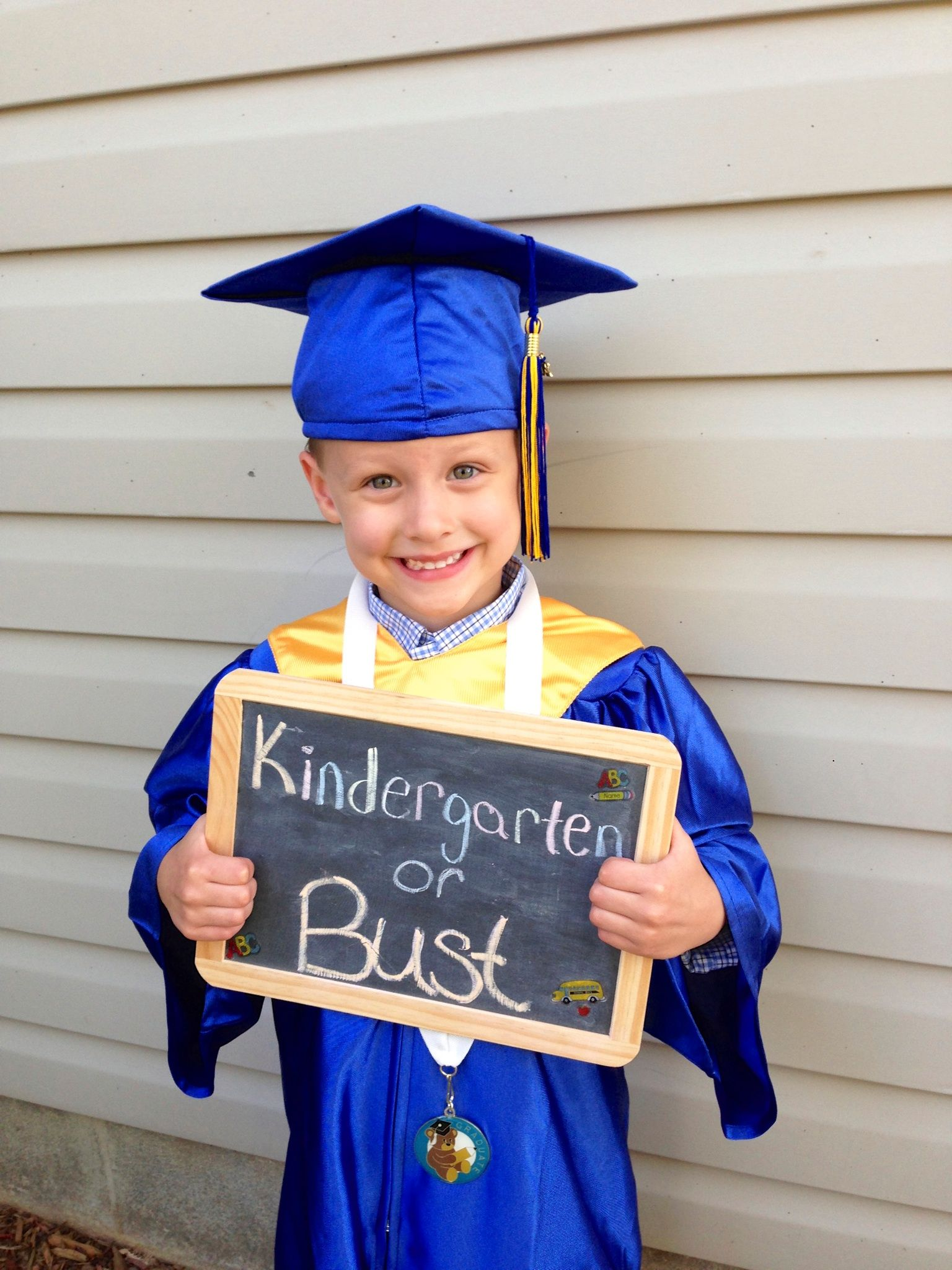 61a12dfa956 Pre-K graduation photo. Kindergarten or Bust