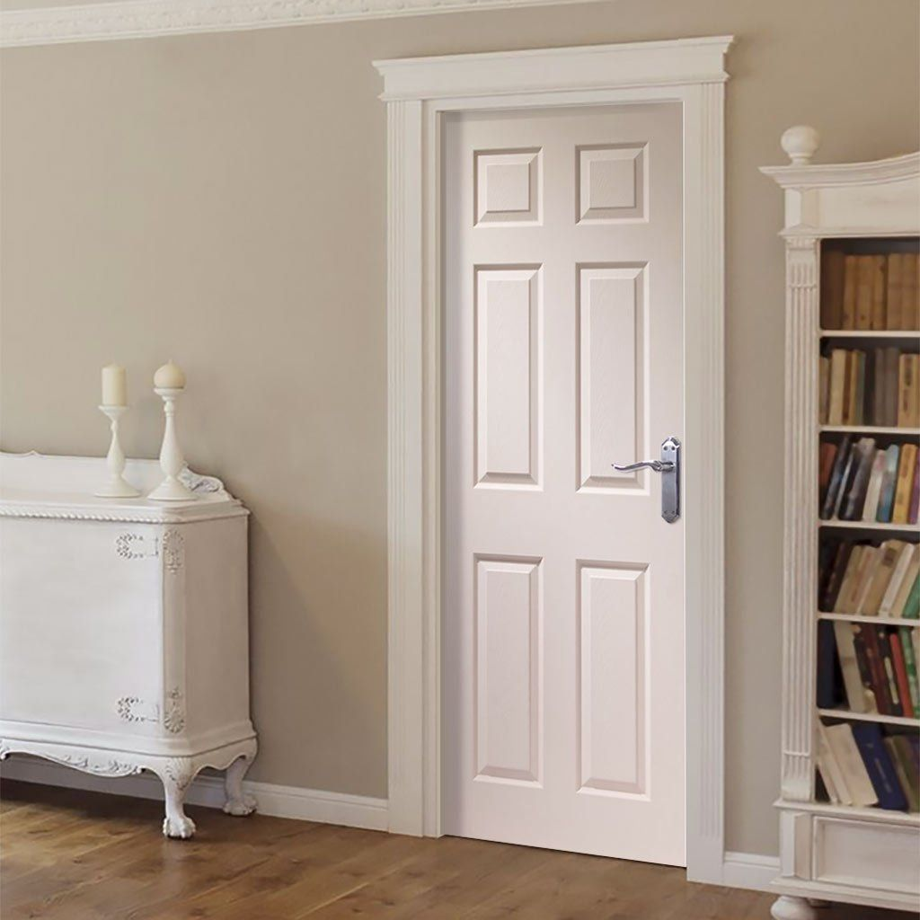 White six panel door design moulding and trim for Moulded panel doors