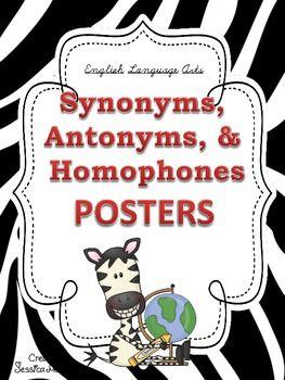 Synonyms Antonyms Homophones Posters Zebra Theme Homophones Antonyms Phonics Reading