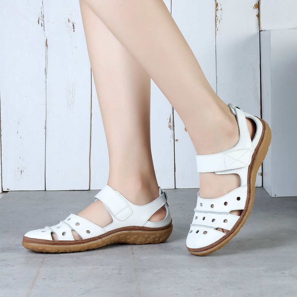 22ad6d44f8d LOSTISY Metal Buckle Hollow Out Open Heel Casual Wedges Sandals in ...