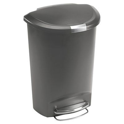 Amazon Com Simplehuman 50 Liter 13 Gallon Semi Round Kitchen Step Trash Can Grey Plastic With Secure Slide Lock Home Simplehuman Trash Can Round Kitchen