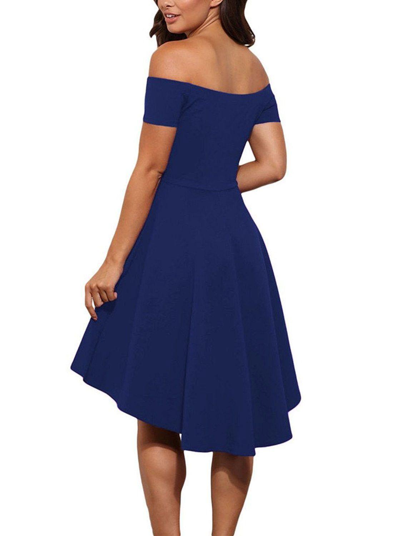 Cute elegant off shoulder party dresses skater dress formal dress