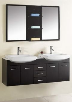 Mounted Double Deep Brown Vanity 59 Inch Modern Double Sink