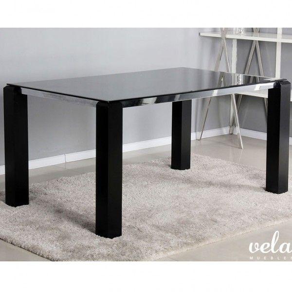 mesa de comedor fija en cristal negro templado de mm con patas en mdf