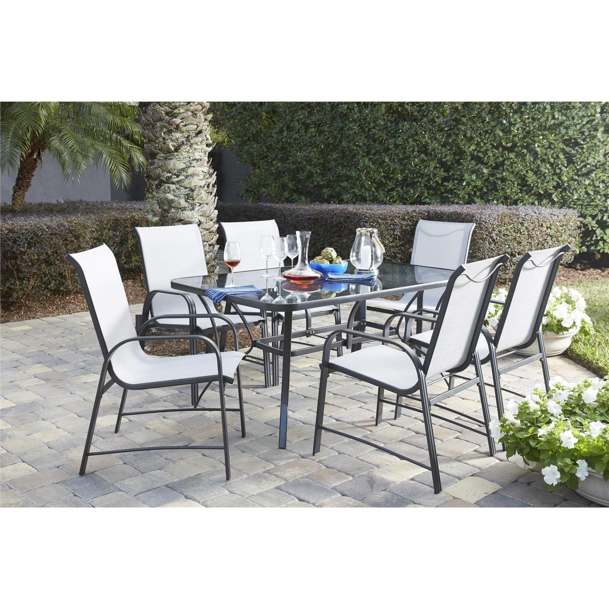 Cosco outdoor living 7 piece paloma steel grey patio dining set with tempered glass table top 7 piece patio dining set grey size 7 piece sets