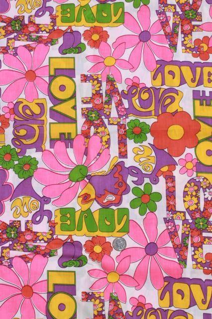vintage hippie LOVE flower power daisy graffiti print cotton fabric 60s 70s retro!