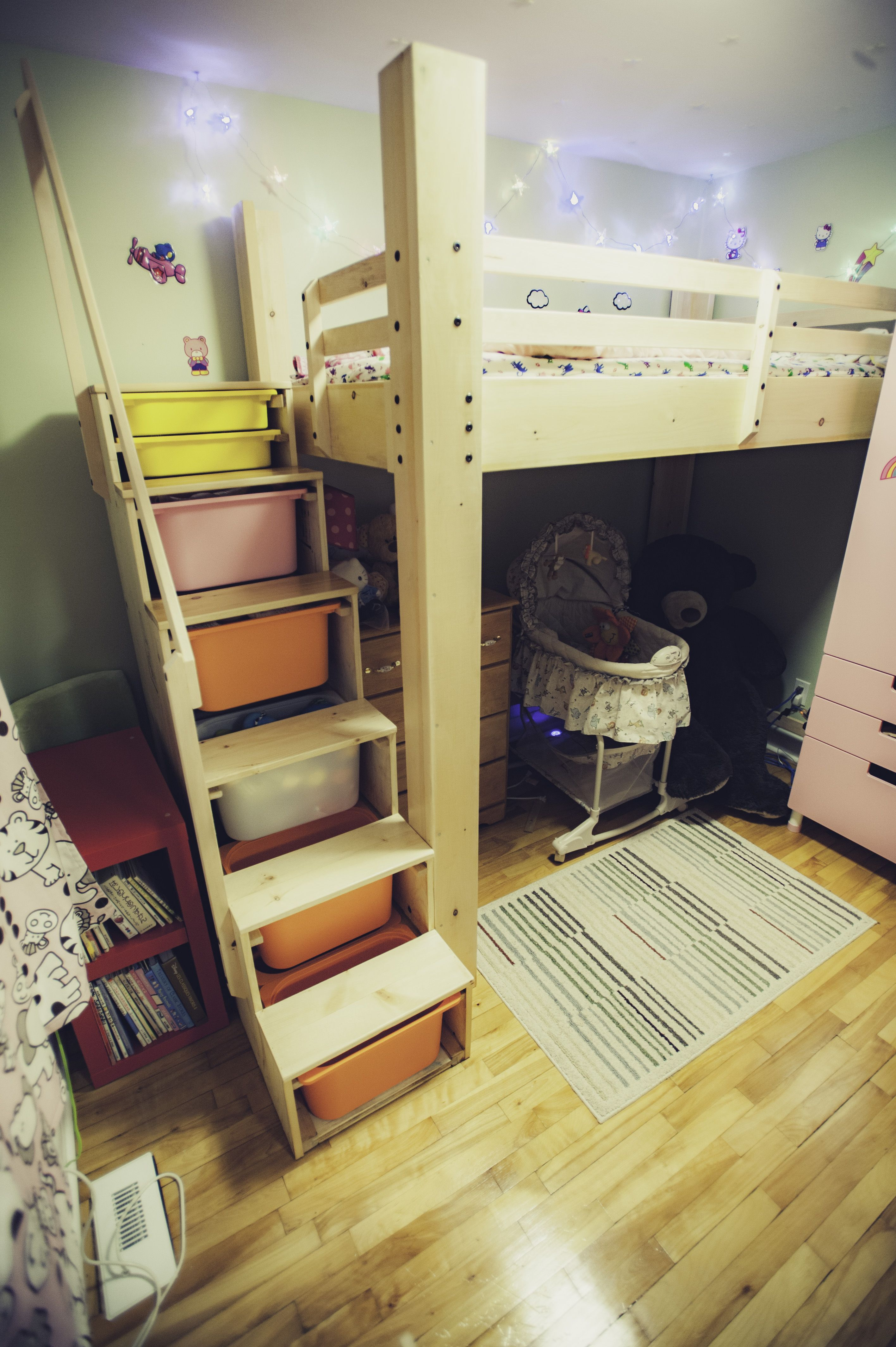Custom Made Pine Bunk Bed For Small Room With Custom Stair With