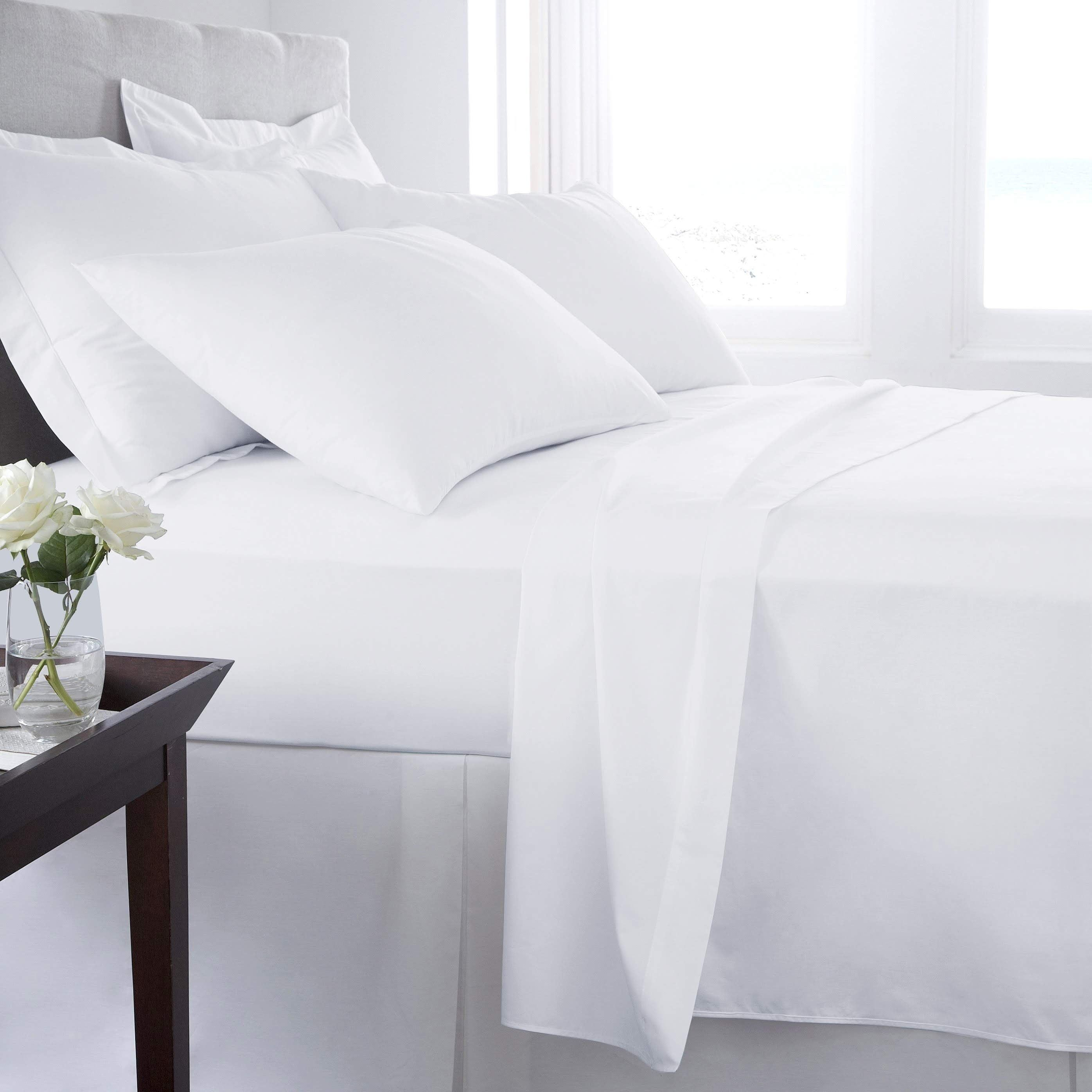 400 TC 100/%Egyptian Cotton Fitted//Flat//Sheet//Duvet in All UK Sizes White Striped