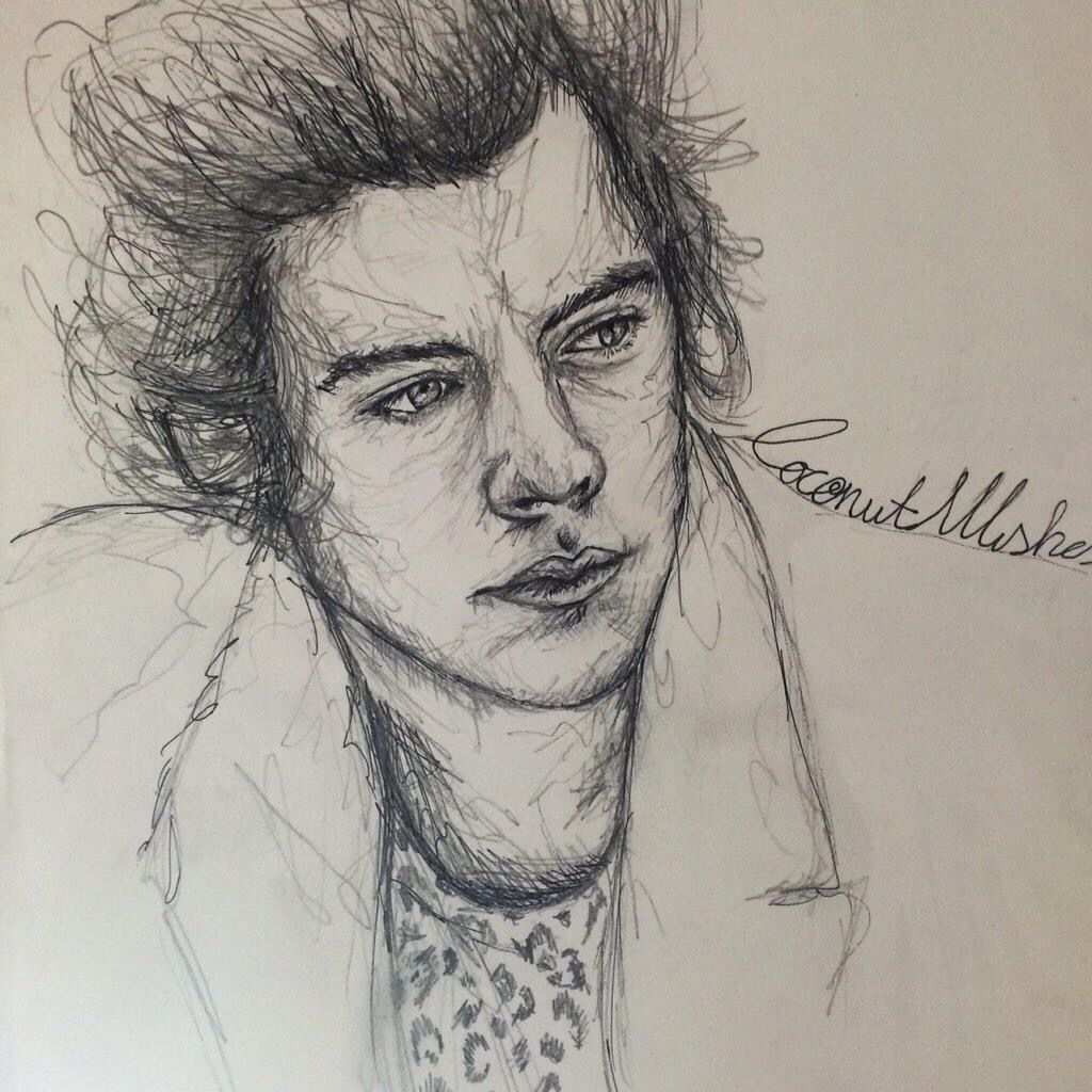 Messy Ink Drawing Of Harry Styles From One Direction One Direction Fan Art One Direction Drawings Epic Drawings