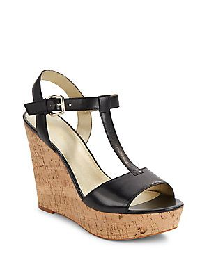 4b442282f3 Saks Fifth Avenue Deville Leather Cork Wedge Sandals -   Products ...