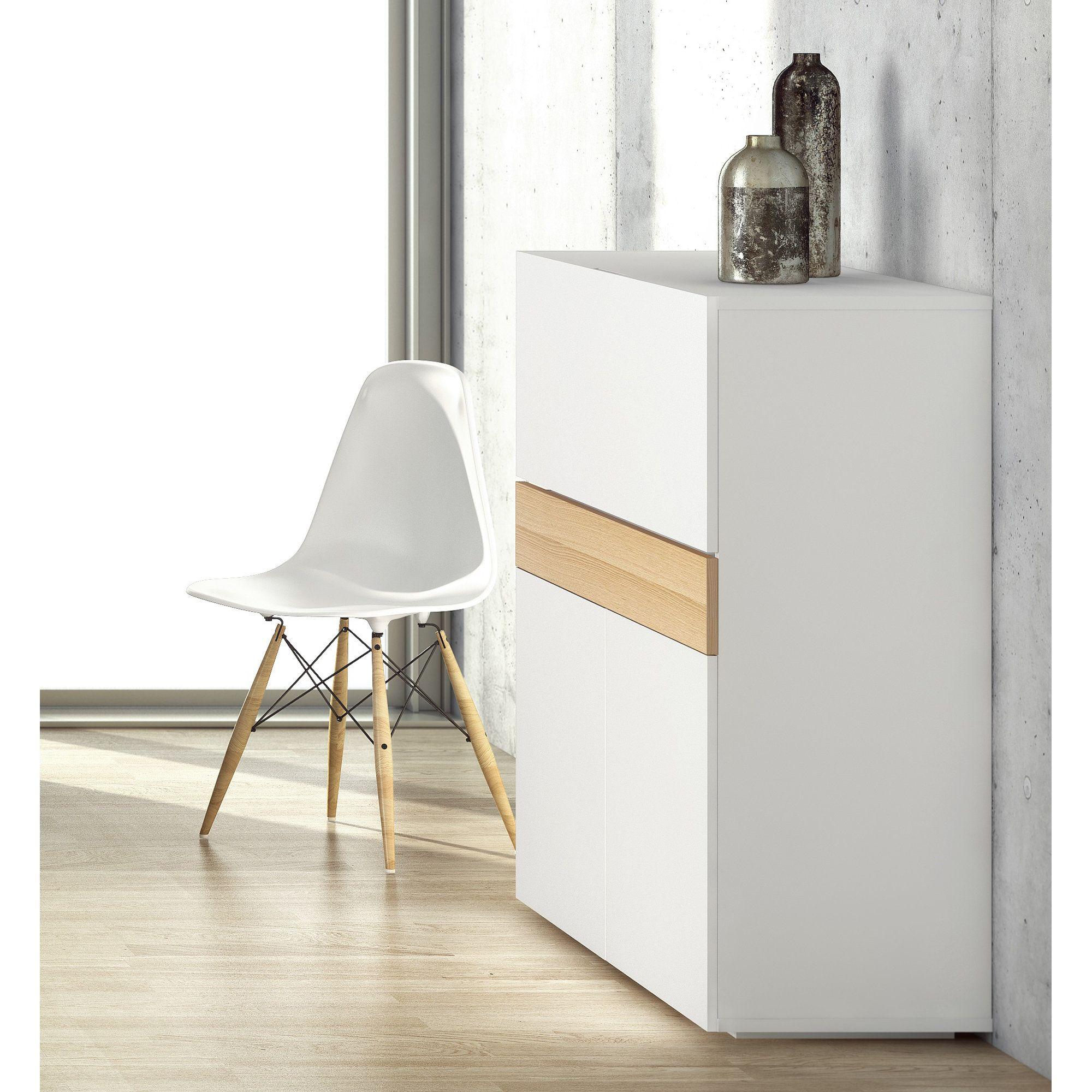 Bureau secrtaire en bois placage chne et blanc Mat L110cm FOCUS