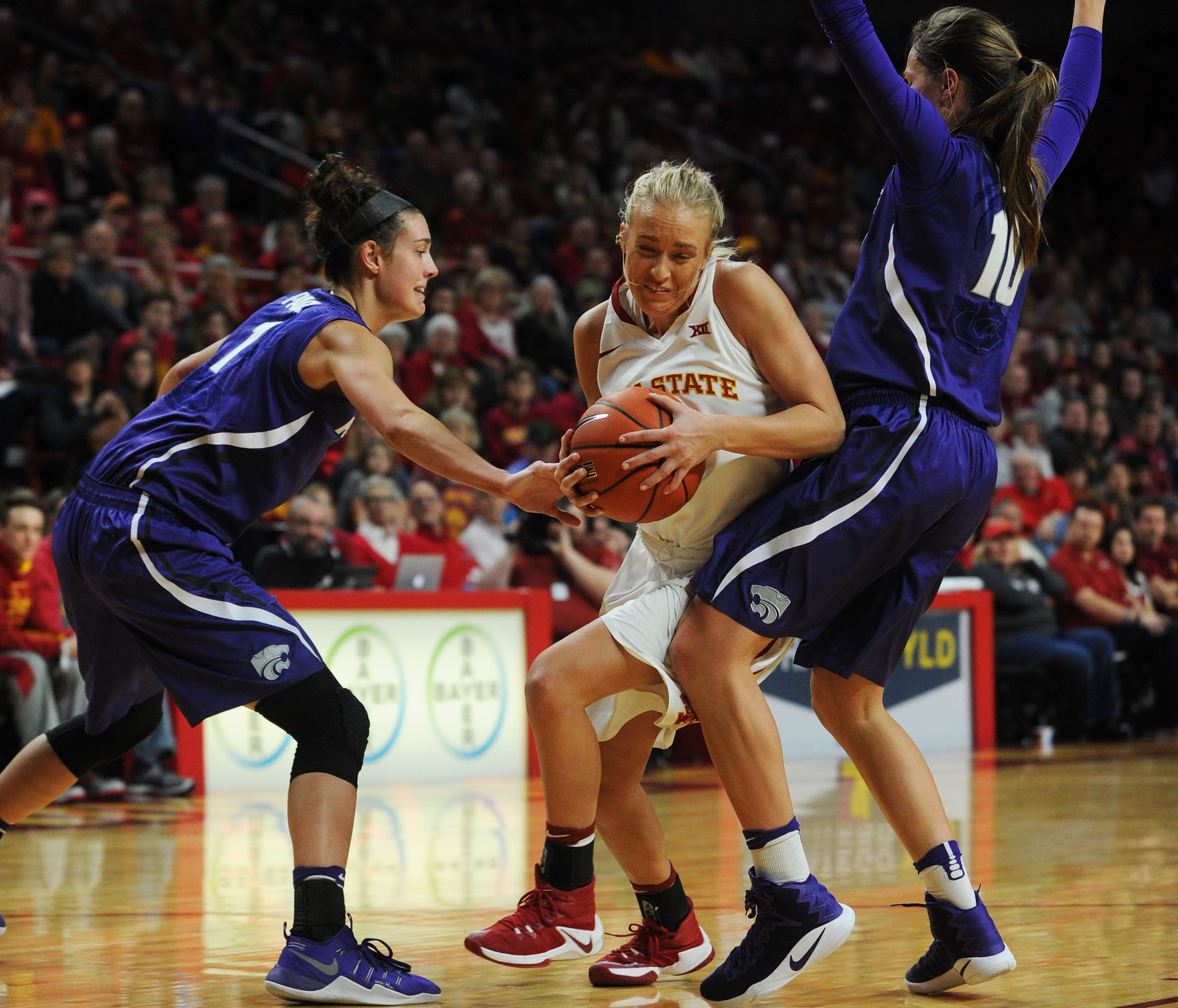 Iowa State's Jadda Buckley drives to the basket between
