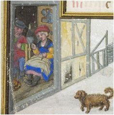 Detail from a January Calendar: Winter spinning (a woman's work is never done) Bruges, Netherlands. Attribution: The young Simon Bening (?) British Library MS Egerton 1147