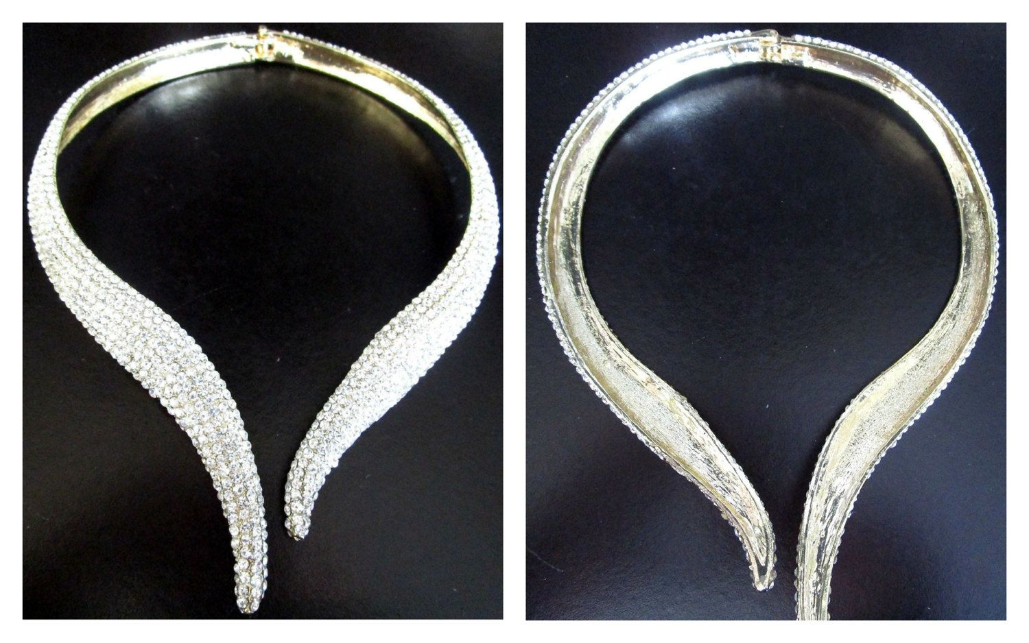 Vng JARIN Unsigned Blinding Diamante Hinged Collier Runway Necklace