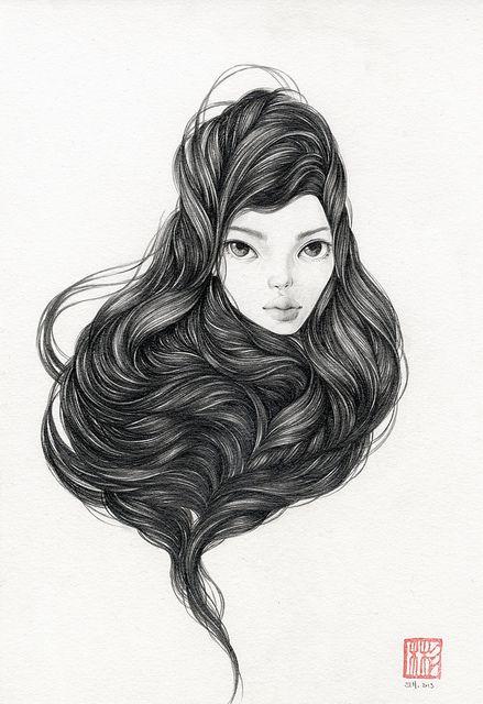 """Lune. 8"""" x 11.5"""". Graphite on Watercolor Paper. © 2013."""