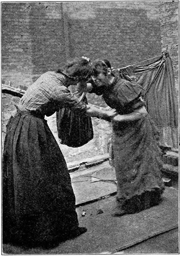 Drunken women fighting on a rooftop. from The People of the Abyss, by Jack  London, circa 1903