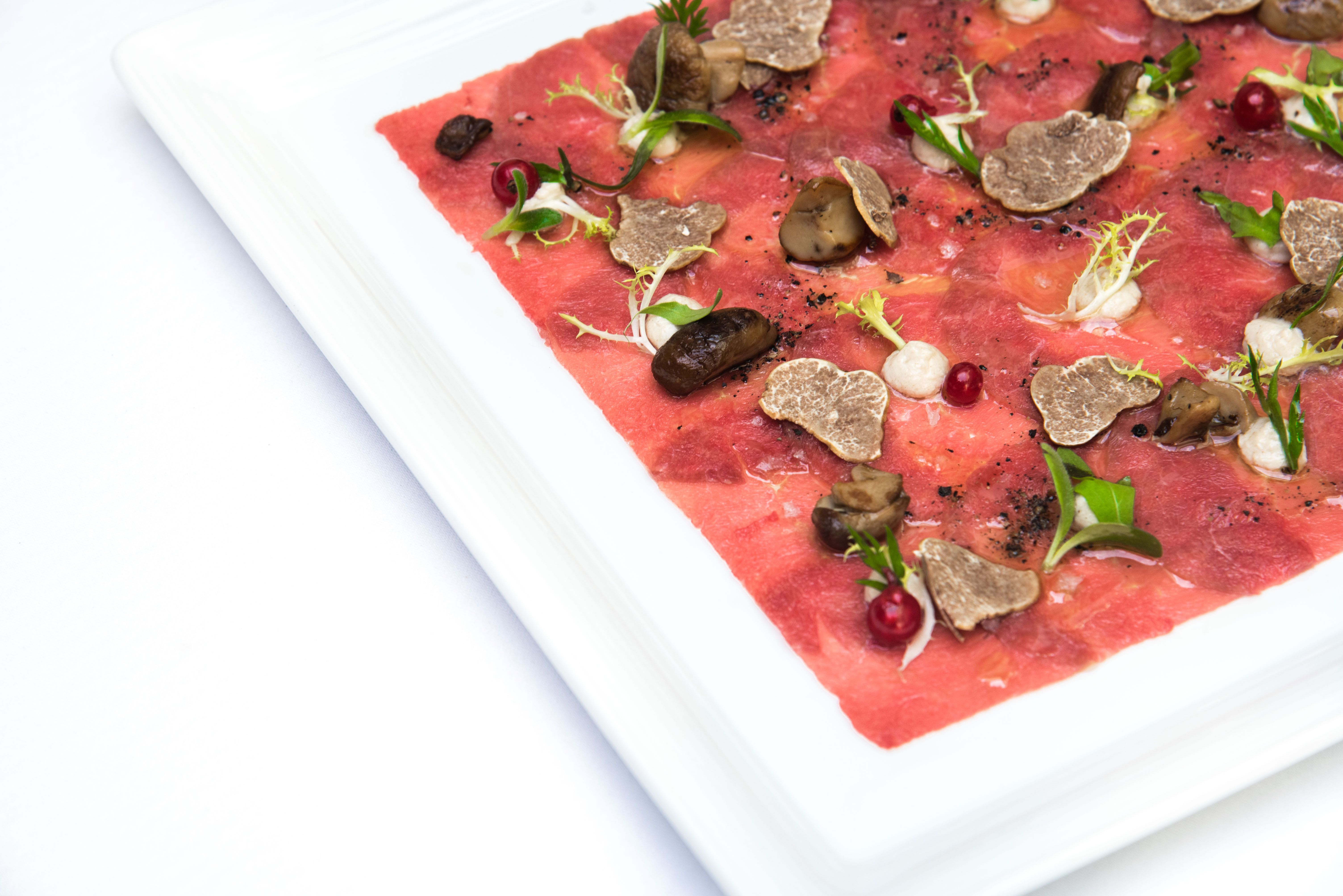 Beef Carpaccio with White Truffle by Senso Ristorante & Bar, Singapore #beef #finedine #plating #singapore #restaurant