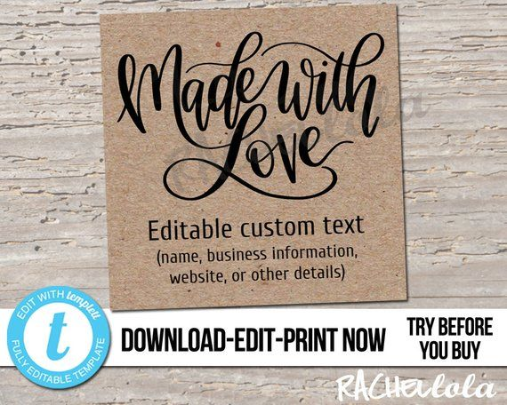 editable custom printable made with love tag rustic kraft. Black Bedroom Furniture Sets. Home Design Ideas