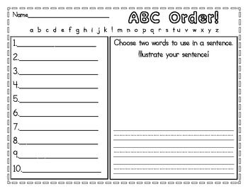 2 versions of an ABC order worksheet to use during literacy ...
