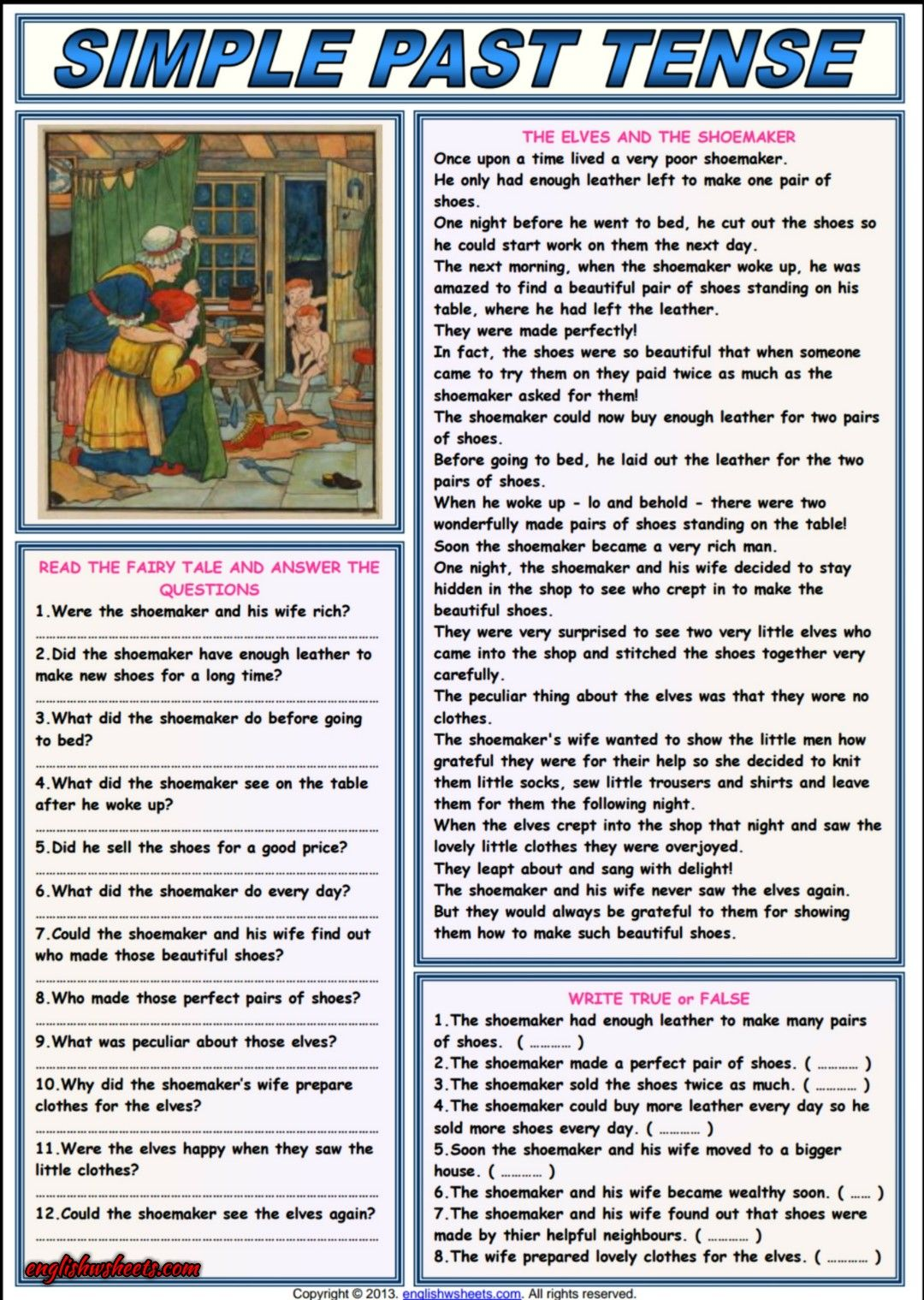 The Elves And The Shoemaker Comprehension Worksheet