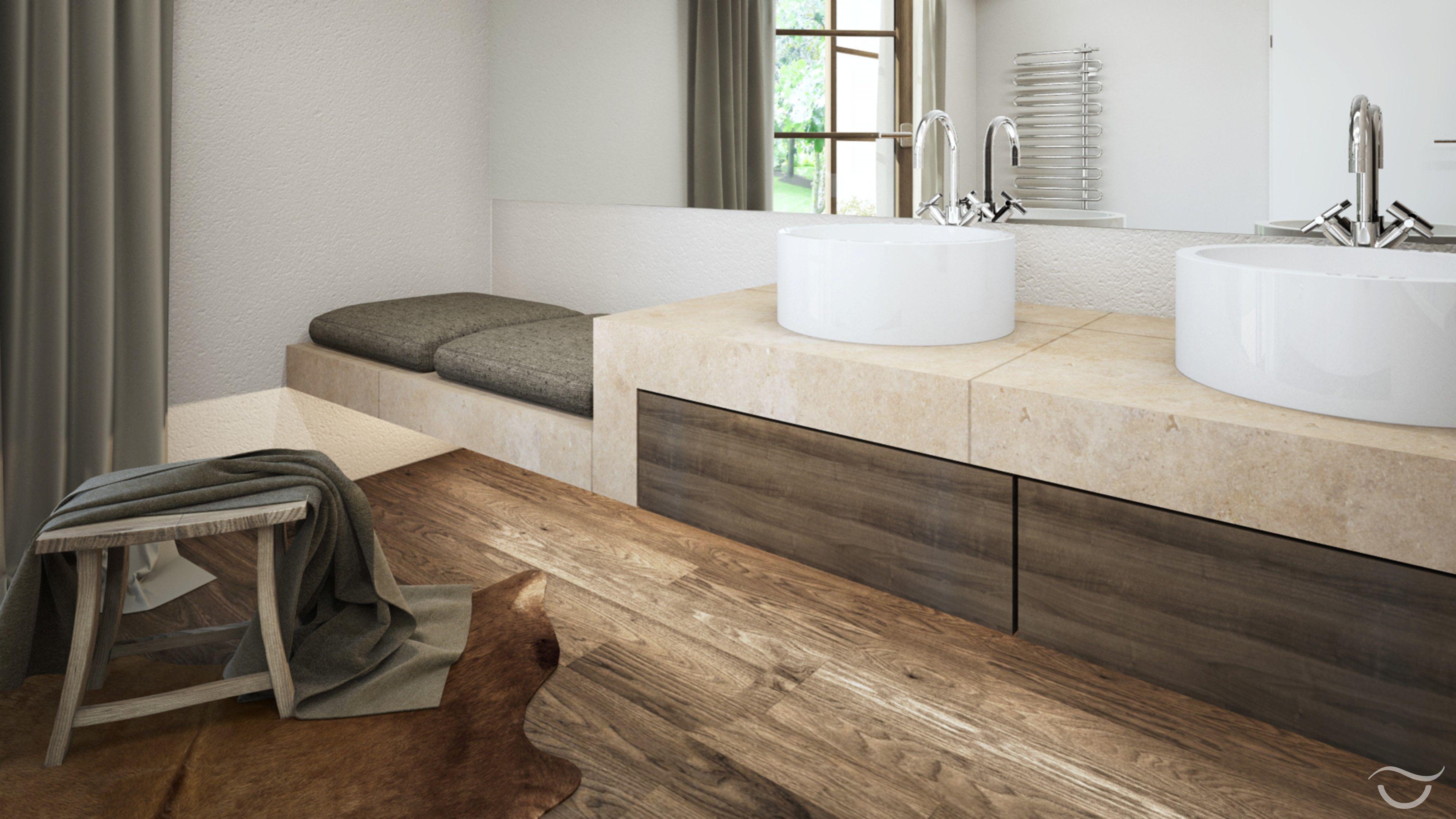 Rustikales Badezimmer Design Mit Holzboden Ein Fellteppich Im Bad Halt Ihre Fusse Zusatzlich Warm Badrenovierung Badezimmer Naturstein Bad