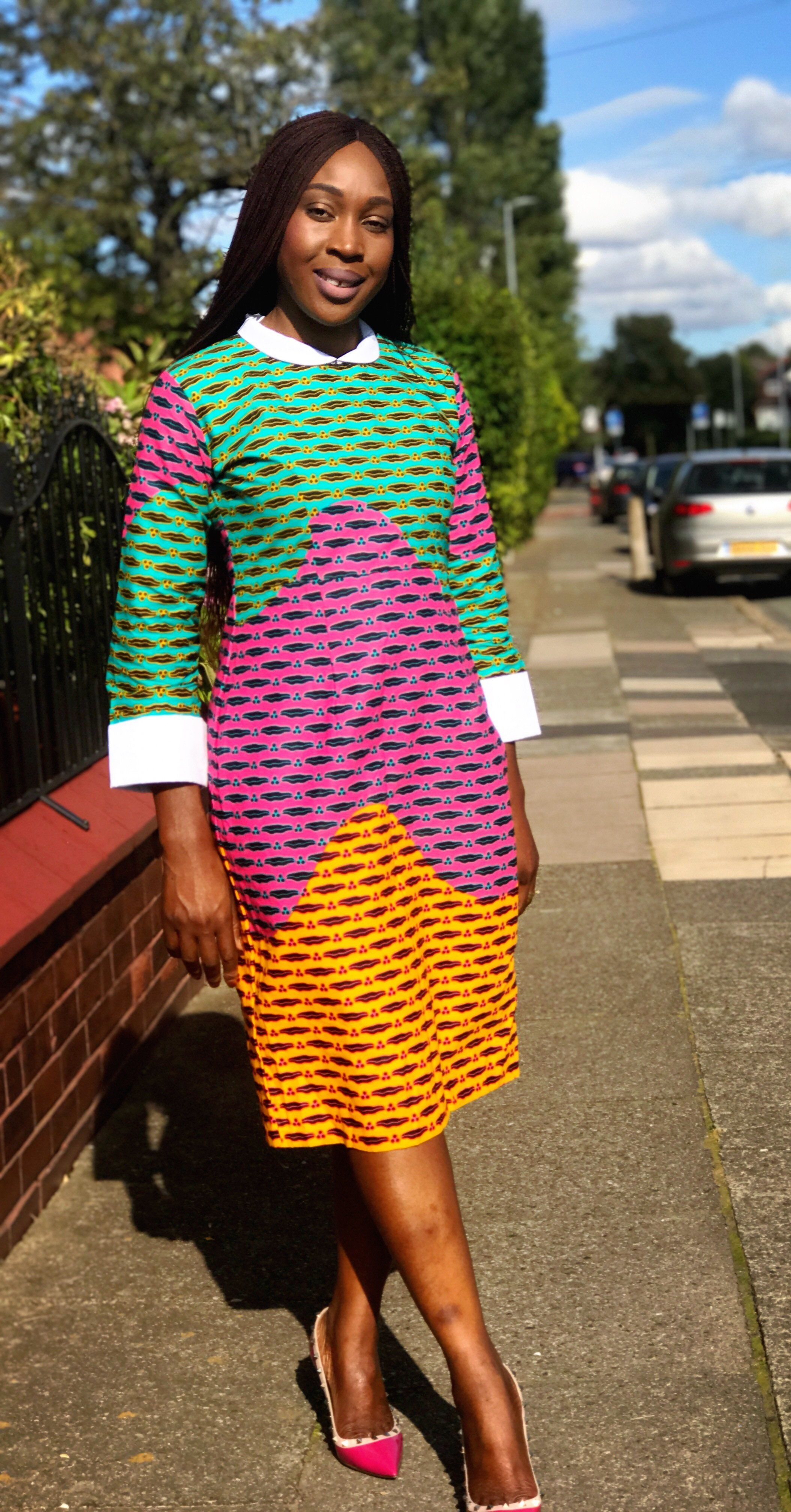 a7601b235 Vibrant Mixed coloured Ankara print collar dress custom made to fit  perfectly to your silhouette. It is made with 100% cotton Ankara fabric.
